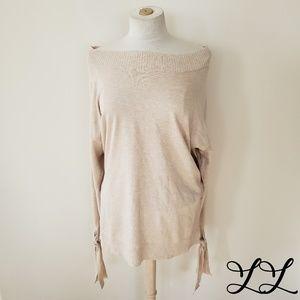 Shimera Sweater Top Pullover Shirt Tan Beige Soft